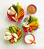 Crudités with dips (overhead view)