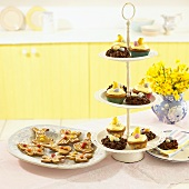 Easter baking on tiered stand and plate