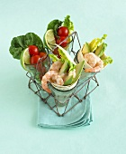 Prawn and avocado wraps in carrier