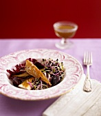 Beetroot salad with sprouts, radicchio and smoked mackerel