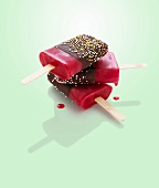 Chocolate-coated fruit ice lollies
