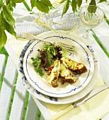 Potato frittata with Taleggio, salad