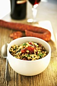Barley risotto with vegetables and chorizo
