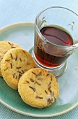 Cheese and caraway biscuits with a glass of port wine
