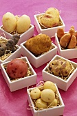 Different varieties of potatoes in dishes