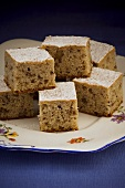 Apple and walnut cake, cut into squares
