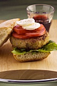 Hamburger caprese (Hamburger with tomato and mozzarella)
