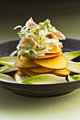 Smoked trout salad on slices of nectarine