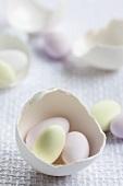 Sugar eggs in eggshells