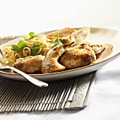 Quail with pasta and ginger confit