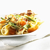 Linguine with chicken (marinated in Bacardi) and coconut & lime sauce