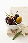 Green and black olives in small dish with olive sprig