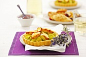 Leek tart with smoked sheep's cheese and lavender
