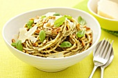 Spaghetti with pesto, basil, Parmesan and pine nuts