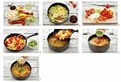 Making sopa de mondongo (tripe soup, S. America)
