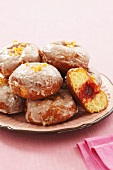 Iced doughnuts with rose jam