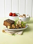Tofu skewer, mushooms and tomatoes