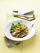 Rye spaghetti with mushrooms