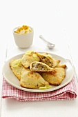 Lentil and ricotta pasties with potato pastry, leeks