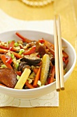 Stir-fried vegetables with mushrooms and sprouts (Asia)