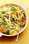 Pasta and vegetable bake with basil