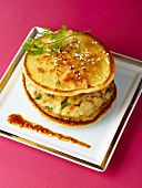 Blinis with vegetable burger