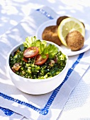 Parsley salad with couscous, croquettes
