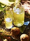 Limoncello e amaretti (Lemon liqueur and almond biscuits)