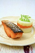 Fried salmon fillet with mashed potato and vegetable puree