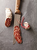 Basque sausage with knife