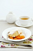 Apricot cobbler with tea