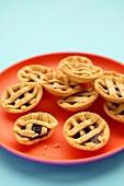Raspberry tarts with pastry lattice
