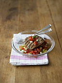 Grilled tuna with tomato and melon salsa