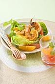 Scampi with citrus fruit