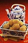 Sesame balls and tea (China)