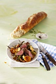 Lamb fillet with leeks and apricots