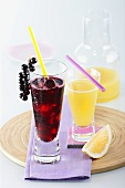 Blackcurrant juice and grapefruit juice