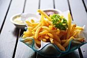 Chips with mayonnaise and ketchup