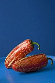 Two red chillies with lined skin