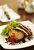 Pork fillet in spice crust with rice