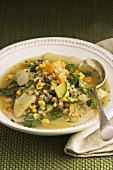 Barley soup with chicken and vegetables