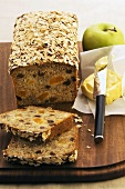 Fruit loaf with oats, butter and apple