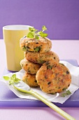 Vegetable burgers with herb sauce