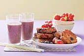 Berry cakes and berry shake