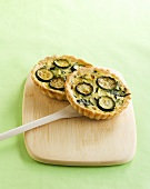 Two courgette tarts