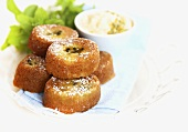Passion fruit friands with cream