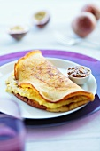 Crepe filled with passion fruit cream