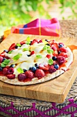 Sweet berry pizza with custard