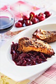 Steaks with cherry compote