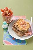 Scrambled egg with shrimps, cherry tomato salad